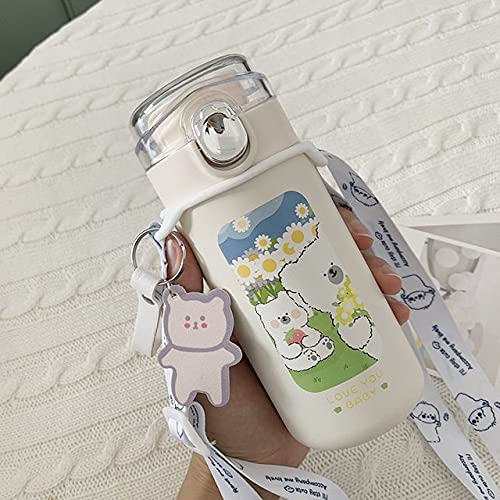 PPuujia Termo Dibujos Animados de Acero Inoxidable vacío matraz café té Leche Taza de Viaje Lindo Oso Botella de Agua Aislamiento Termo (Color : Blue Pink)