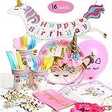 yazi 誕生日パーティー 装飾セット 安全食品級素材 ユニコーン パーティ 使い捨て食器セット 誕生日 飾り 可愛い 紙皿 紙コップ 16名様セット