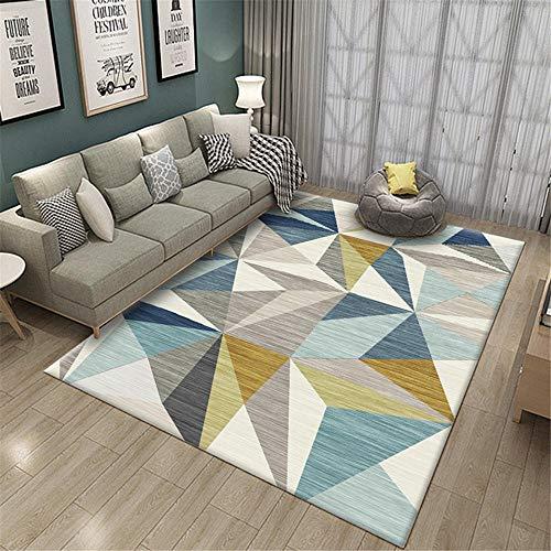 alfombra salon alfombras exterior terraza El patrón geométrico azul de la alfombra de la sala de estar es resistente a la suciedad, al desgaste y lavable alfombras a medida online 140X200CM 4ft 7.1'X6