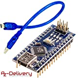 AZDelivery Tarjeta Mini Nano V3.0 CH340 Chip ATmega328P versión soldada con Cable USB compatible con Arduino con E-book incluido!