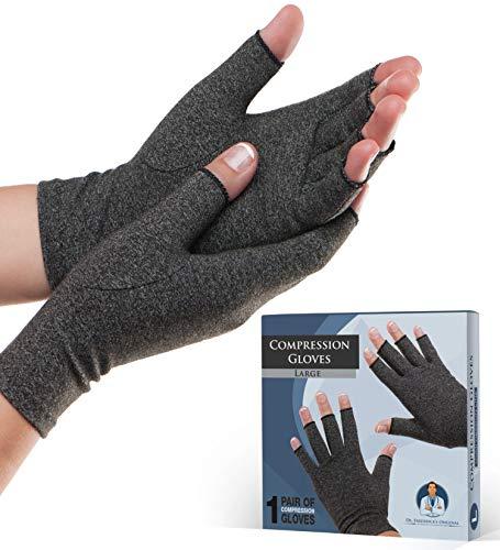 guanti mezze dita donna Dr. Frederick s Original Guanti per artrite – Caldo e compressione per alleviare il dolore reumatico e l'osteoporosi – Uomo e donna … (Large)