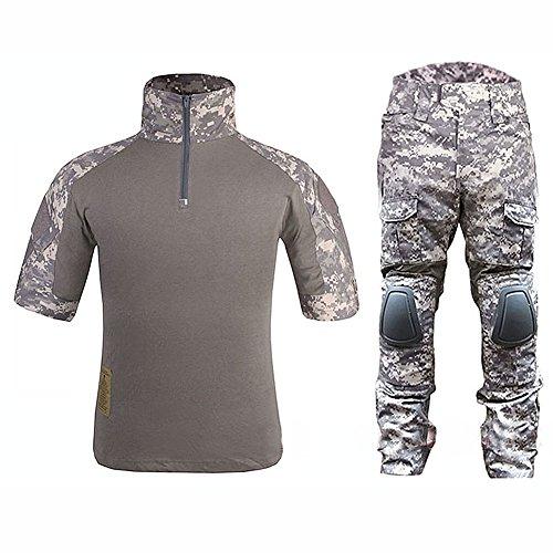 ATAIRSOFT WorldShopping4U Tactique Militaire personnalisé Combat Shorts Armée Uniforme Shirt & Pants Suit Set (ACU, L)