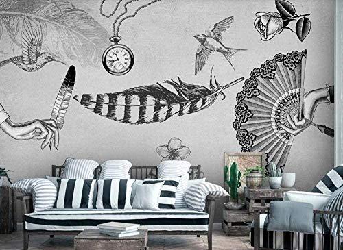 Papel tapiz nostálgico Medieval de aves con plumas, papel tapiz no tejido, Mural con efecto 3D, decoración d Pared Pintado Papel tapiz 3D Decoración dormitorio Fotomural sala sofá mural-430cm×300cm