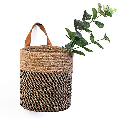 Wall Hanging Storage Baskets - Small Cotton Rope Woven Closet Storage Bins-Shelf Basket Organizer for Plants, Towels,Toys - 6.3