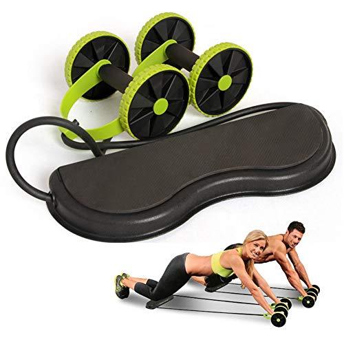 HUAXM Doppel Wheels Ab Roller, Bauchtrainer mit Widerstand-Band Pull Seil Taillen-Trimmer Hauptgymnastik-Ausrüstung