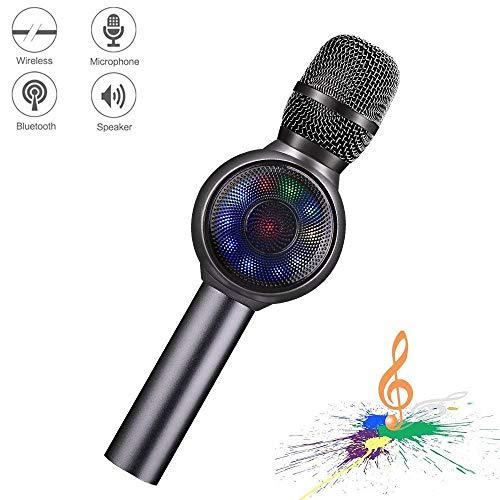 Microfono Karaoke Bluetooth wireless, NINE CUBE 3-in-1 Palmare portatile Karaoke Mic, Altoparlanti per karaoke, regali per amici e bambini, compatibili con iPhone, Android, PC, ecc. (Grigio)