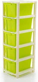 VB ENTERPRISE 5 Extra Large Multi-Purpose Modular Drawer Storage System for Home and Office with Trolley and Anti-Slip Sho...