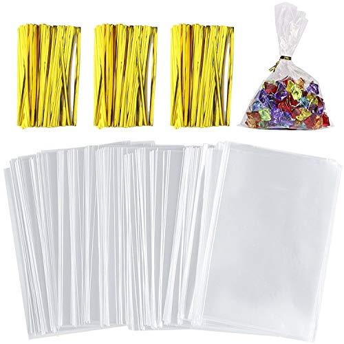 NEPAK 400 pcs 8 x 12 cm Bolsas de Celofán,Transparentes Bolsas Celofán Lazos de Oro Color,para Regalo Bolsa, Bolsa de Dulces, Chocolate, Galletas