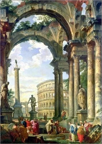 Póster 50 x 70 cm: Roman Capriccio, 18th Century de Giovanni Paolo Pannini/Bridgeman Images - impresión artística, Nuevo póster artístico