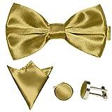 GASSANI 3Tlg Fliegenset, Goldene Herren-Fliege, Hochzeitsfliege Ein-Stecktuch Manschettenknöpfe, Anzug-Schleife Vor-Gebunden Verstellbar