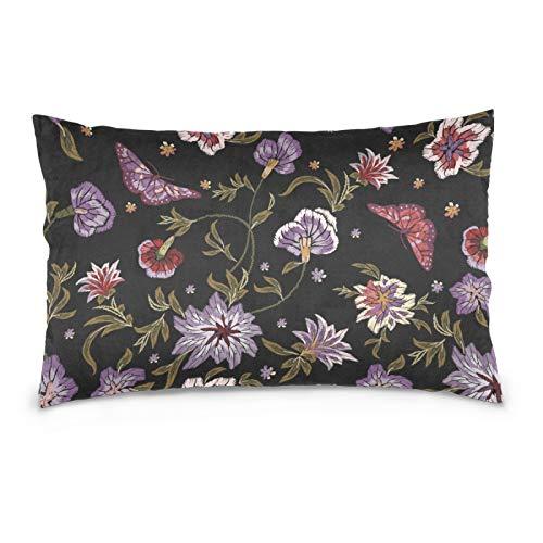 FULUHUAPIN Funda de almohada de forro polar de algodón, diseño de flores de mariposa, con cremallera, tamaño estándar, suave y acogedor, para niños y niñas, 20 x 30 pulgadas 2030146