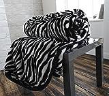 Couvre-lit en fourrure de vison synthétique imprimé zèbre–Super...