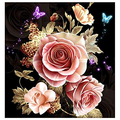 DCIDBEI 5D Diamond Pintura de Diamantes,5d Diamond Painting, Flor Mariposa Cristal Full Diamond Rhinestone Pintura por número artesanía Arte Manualidades decoración de la Pared para el hogar 30x30cm