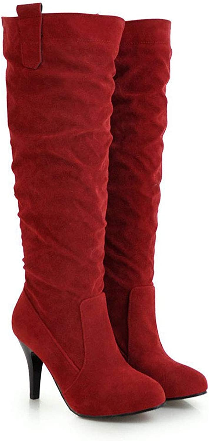 High-Heeled High Boots, Frosted Pointed Knee Boots Waterproof Platform Non-Slip Long Tube Elastic Boots Comfortable Ladies shoes for Parties, Weddings, Work