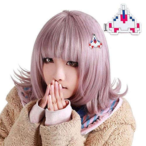 ANOGOL Wig+{ 1 Hairpin } Light Purple Bob Wig for Girls Short Cosplay Wigs with Bangs Synthetic Hair for Anime