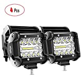 Nilight 4PCS 4Inch 60W Triple Row Flood Spot Combo 6000LM Bar Driving Boat Led Off Road Lights for Trucks,2 Years Warranty, Model Number: 18021F-D