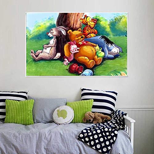 KWzEQ Bär und Honigbaum Cartoon Kinderzimmer Wandbild HD Poster Home Dekoration,Rahmenlose Malerei,30X45cm