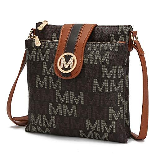 Bolsas transversais MKF para mulheres – tiras transversais, bolsa carteiro – bolsa de couro PU, bolsa feminina moderna, Brown Rodina, Medium