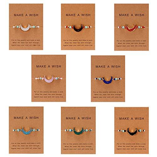 Make A Wish Bracelet Handmade Resin Druzy Bracelet Simple Women Jewelry Gifts Pack of 2/4/6/8 (8psc-moon)