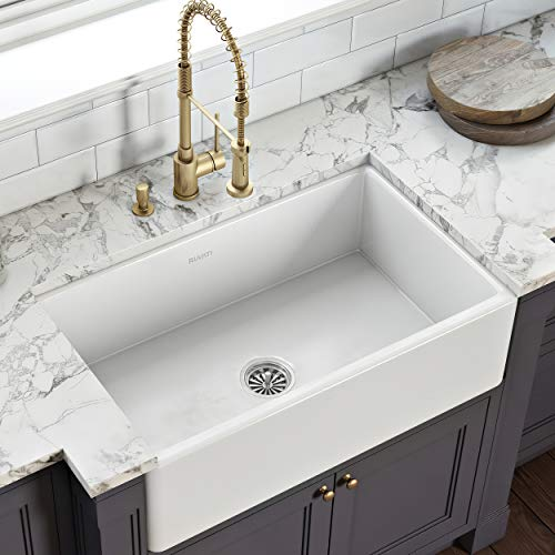 Ruvati 33 x 20 inch Fireclay Reversible Farmhouse Apron-Front Kitchen Sink Single Bowl - White...