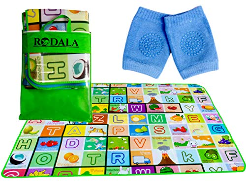 RODALA Double Sided Water Proof Play Mat and Knee Pad for Baby Kids Crawling Carpet Floor Kid Playing Mats Gym Water Resistant (Large Size - 6 Feet X 4 Feet) Playmat for Babies