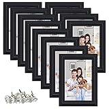 PETAFLOP Cadre Photo 10 x 15 cm, Lot de 12 Cadres Noir sans Pass-Partout à Poser au Mur ou sur Table