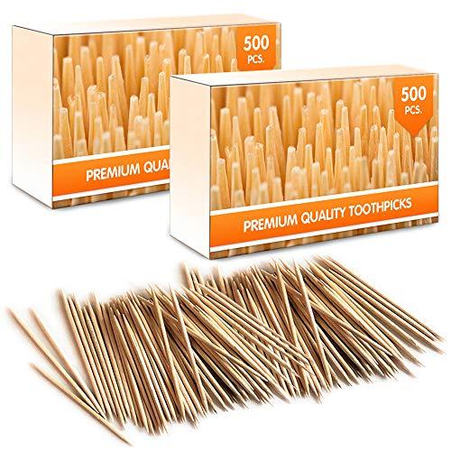 Mobi Lock Premium Bambus Holz Cocktail Zahnstocher | 1000 Stück - Perfekt für täglichen Gebrauch