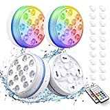 Smarich Poolbeleuchtung Unterwasser, Led Unterwasserlicht mit RF-Fernbedienung, IP68 Wasserdichtes Pool Beleuchtungen mit 13 LED, Pool Licht mit 4 Magnet, 4 Saugnäpfen für Teich Party(4 Stück)