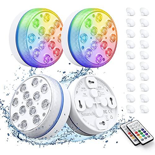 Smarich Poolbeleuchtung Unterwasser, Led Unterwasserlicht mit RF-Fernbedienung, IP68 Wasserdichtes Pool Beleuchtungen mit 13 LED, Pool Licht...