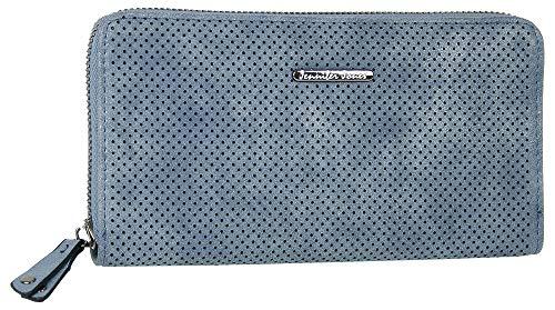 Jennifer Jones Große Schmale Damen Geldbörse Clutch-Portemonnaie mit umlaufendem Reißverschluss viel Stauraum Kartenfächer Münzfach Fotofach (Blau)