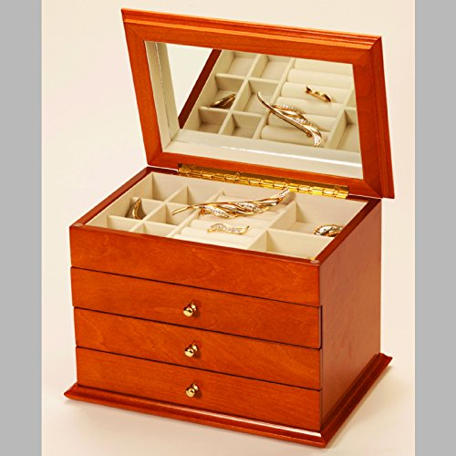 Mele & Co Carol Oriental Rose Jewellery Case, Oakwood, 26 cm x 1820.5 cm x cm