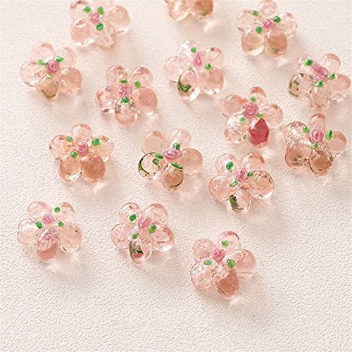 YSJJNDH Perles de Verre 10pcs Glaze Perles de Fleurs Pendentif Charms pour Bijoux Collier Bracelet Collier Bricolage Boucles d'oreilles en Perle en Vrac (Color : Pink)