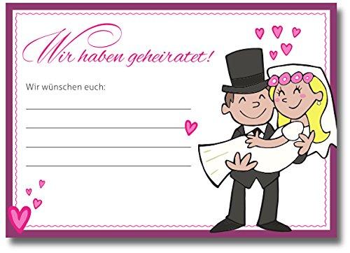 Ballonflugkarten Hochzeit 50 Stück Wir haben geheiratet! Wettflugkarten für Ballons Ballonwettflug