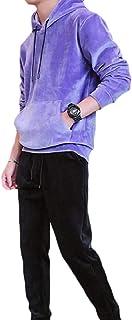 Mogogo Men's Hoodie Kangaroo Pocket Velvet Slim Sports Tracksuit Outfit