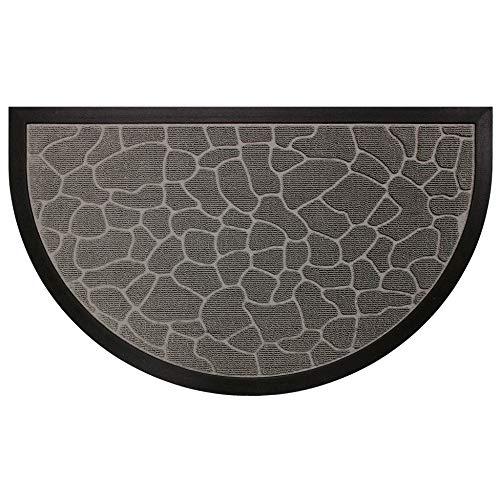 douceur d'intérieur tapis d'entree demi-lune 45x75 cm pvc galets gris
