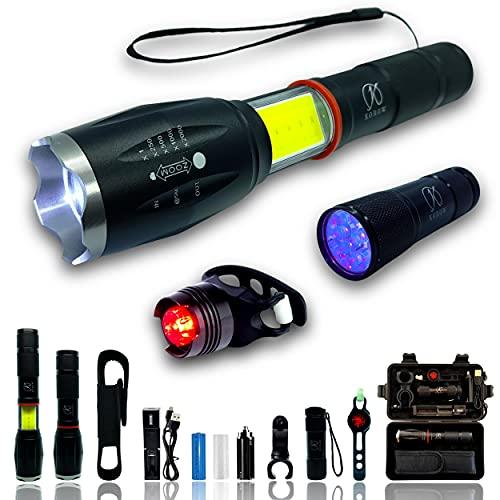 Linterna LED ultrapotente recargable con batería USB Potente multifunción de 1000 lúmenes + linterna UV + luz trasera de bicicleta + accesorios Caja de regalo Idea de regalo para hombres