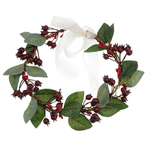 Beaupretty Weihnachtskränze künstliche Beere Garland Kopf Kleid für Braut Weihnachtsdekoration (rot)