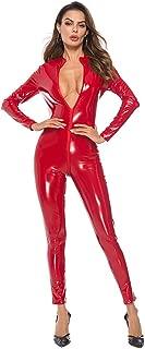 Sanyalei Women's Sexy PU Faux Wet Look Zipper Front Leather Catsuit Teddy Clubwear