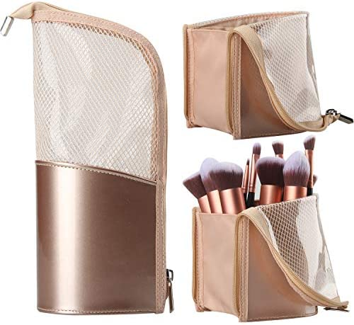 Travel Makeup Brush Bag Portable Rose Gold Makeup Brush Holder Organizer Bag Waterproof Stand product image