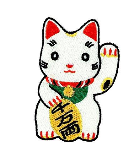 Patch, applicator, geborduurd, voor rugzak, motief: Maneki Beko, geluksbrenger om op te strijken