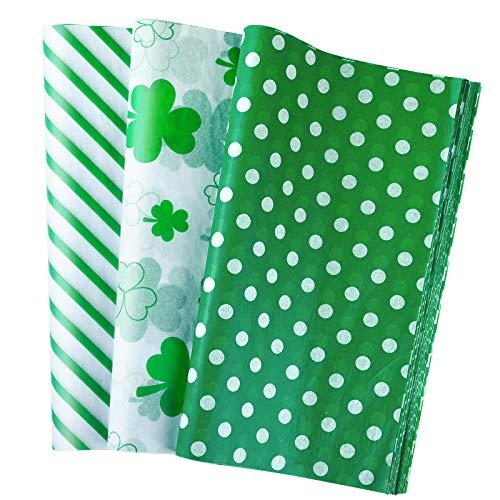 PLULON 60 Blatt Saint Patrick Geschenkverpackung Seidenpapier Geburtstag, Seidenpapier für Zuhause, Küche, Basteln, Verpackungszubehör (Green)