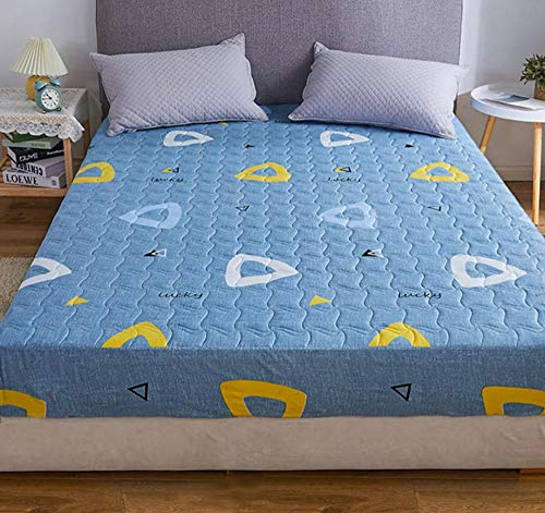 XLMHZP Anti-Ácaros Funda de Colchón,Funda de colchón Impermeable Acolchada Entallada de Diferentes tamaños colchón Protector de Piso Estilo Cubierta de colchón Grueso-K_200x220cm+30cm