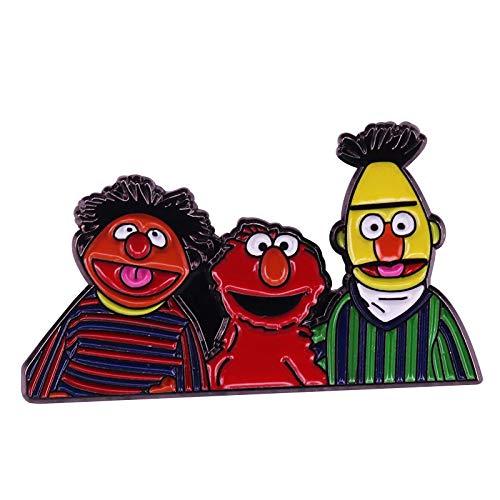 wangk Sesame Street Bert Ernie Elmo Pin Nostalgic Cartoon Muppets Spilla Questi fratelli Sono per Sempre!