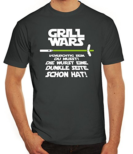 Grill Herren T-Shirt Grill Wars - Dunkle Seite, Größe: L,Darkgrey