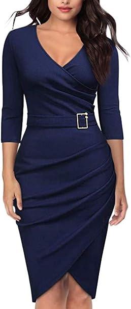 Orandesigne Damen 3 4 Arm Kleider Elegant V Ausschnitt Abendkleid Etuikleid Formelle Buro Kleid Knielang Business Kleider Dunkelblau De 44 Amazon De Bekleidung