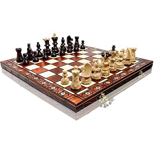 DFJU Juego de ajedrez de Madera 42 cm, Inteligencia de ajedrez de Juego clásico Hecho a Mano, Fiesta de Juego de Intercambio