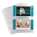 Samsill, 4x6 Photo Album Pages for 3 Ring Binder, Archival Photo Sleeves, Photo Holder and Postcard Holder, 2 Pocket Top Loading, Pack of 25
