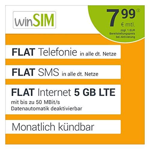 winSIM LTE All 5 GB Allnet Flat - monatlich kündbar (FLAT Internet 5 GB LTE mit max. 50 MBit/s mit deaktivierbarer Datenautomatik, FLAT Telefonie, FLAT SMS und EU-Ausland 7,99 Euro/Monat)
