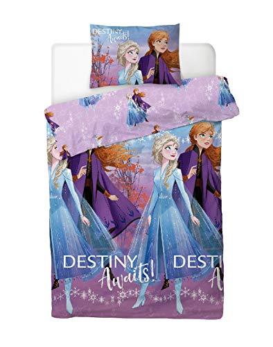 Disney Frozen Single Duvet Cover Bedding Set With Matching Pillow Case Elsa and Anna (Frozen 2, SINGLE BED (135cm x 200cm))