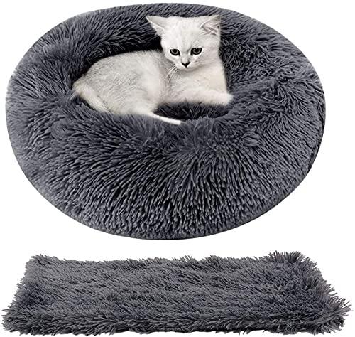 katzenbett - legendog runden katzenbett plüsch hundebett 2 stücke weich warm katze schlafen bett + haustierdecke für katzen und kleine hunde 50cm (dunkelgrau)